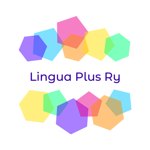 Logo of Lingua Plus Ry; the logo text is in the middle of colorful hexagons and pentagons. Life is unpredictable, but together we can work in harmony.